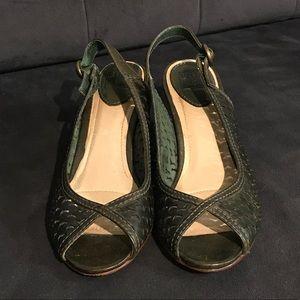 Frye Maya cut sling back shoe, Dark Green. 7 1/2M.